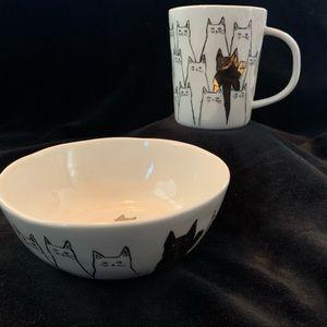 Cat Mug & Bowl from Anthropologie